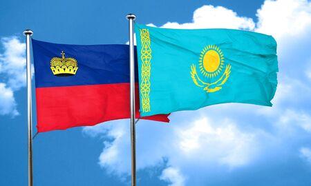 liechtenstein: Liechtenstein flag with Kazakhstan flag, 3D rendering Stock Photo