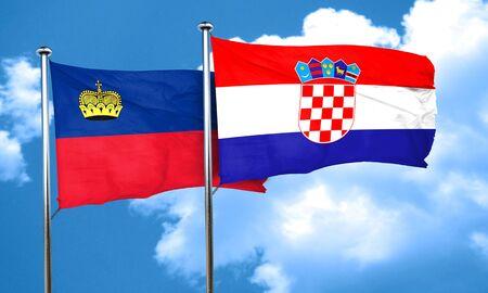 croatia: Liechtenstein flag with Croatia flag, 3D rendering