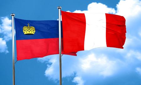 bandera peru: Liechtenstein bandera de la bandera de Per�, 3D Foto de archivo