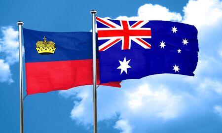 liechtenstein: Liechtenstein flag with Australia flag, 3D rendering