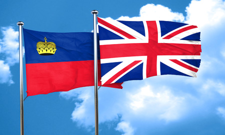 england politics: Liechtenstein flag with Great Britain flag, 3D rendering