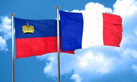 liechtenstein: Liechtenstein flag with France flag, 3D rendering Stock Photo