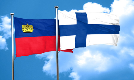 finland: Liechtenstein flag with Finland flag, 3D rendering Stock Photo