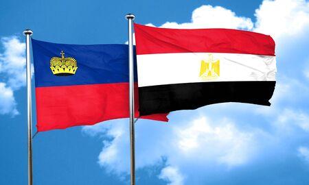 liechtenstein: Liechtenstein flag with egypt flag, 3D rendering