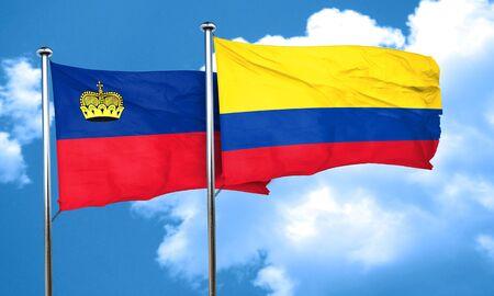 bandera de colombia: Liechtenstein bandera de la bandera de Colombia, 3D Foto de archivo