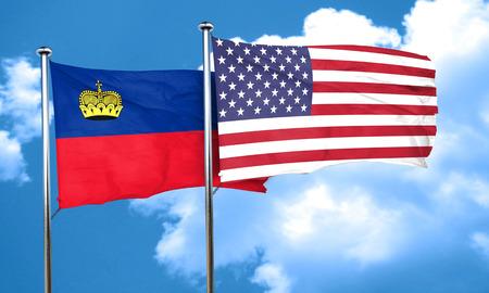 liechtenstein: Liechtenstein flag with American flag, 3D rendering