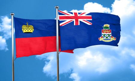 cayman: Liechtenstein flag with Cayman islands flag, 3D rendering