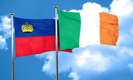 liechtenstein: Liechtenstein flag with Ireland flag, 3D rendering Stock Photo