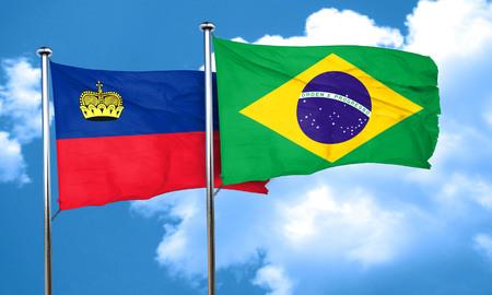 liechtenstein: Liechtenstein flag with Brazil flag, 3D rendering Stock Photo
