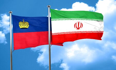 iran: Liechtenstein flag with Iran flag, 3D rendering Stock Photo