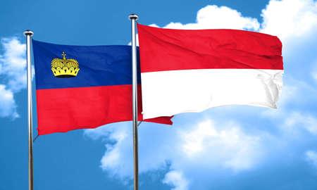 liechtenstein: Liechtenstein flag with Indonesia flag, 3D rendering