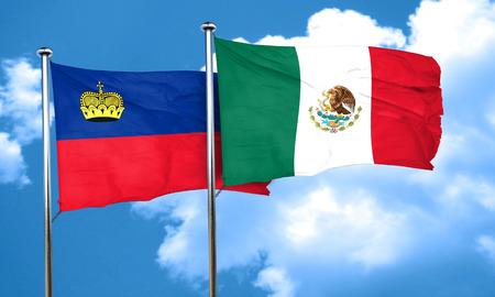 liechtenstein: Liechtenstein flag with Mexico flag, 3D rendering
