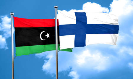 libya: Libya flag with Finland flag, 3D rendering Stock Photo