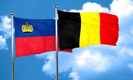 liechtenstein: Liechtenstein flag with Belgium flag, 3D rendering