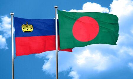 bangladesh: Liechtenstein flag with Bangladesh flag, 3D rendering Stock Photo