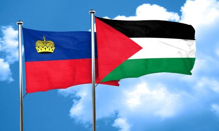 liechtenstein: Liechtenstein flag with Palestine flag, 3D rendering