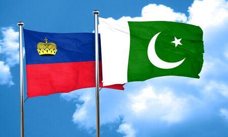 liechtenstein: Liechtenstein flag with Pakistan flag, 3D rendering