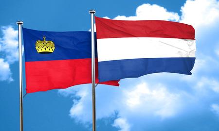 liechtenstein: Liechtenstein flag with Netherlands flag, 3D rendering