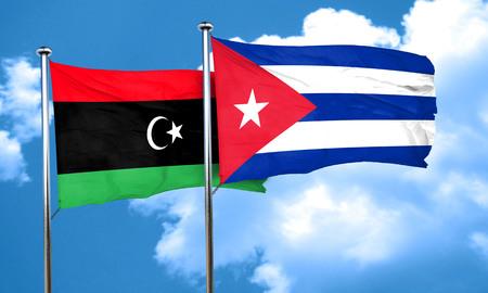 cuba flag: Libya flag with cuba flag, 3D rendering Stock Photo