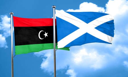 libya: Libya flag with Scotland flag, 3D rendering Stock Photo