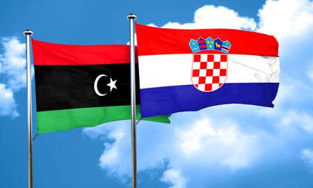 bandera croacia: bandera de Libia con la bandera de Croacia, 3D
