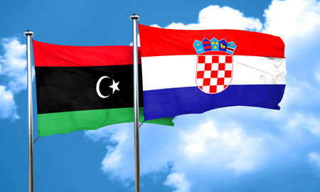 croatia flag: Libya flag with Croatia flag, 3D rendering