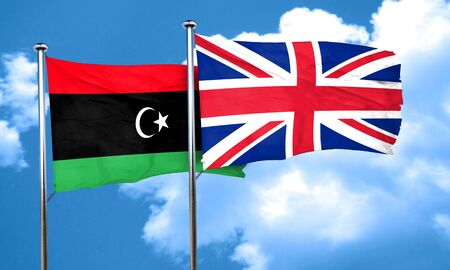 great britain flag: Libya flag with Great Britain flag, 3D rendering