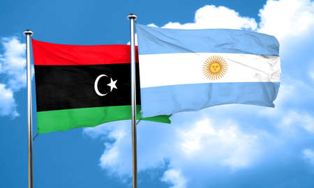argentine: Libya flag with Argentine flag, 3D rendering Stock Photo