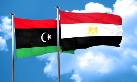 egypt flag: Libya flag with egypt flag, 3D rendering Stock Photo