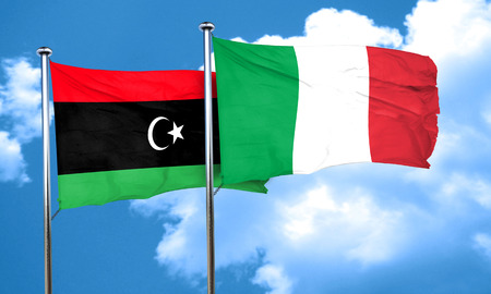 libya: Libya flag with Italy flag, 3D rendering