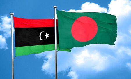 bangladesh: Libya flag with Bangladesh flag, 3D rendering