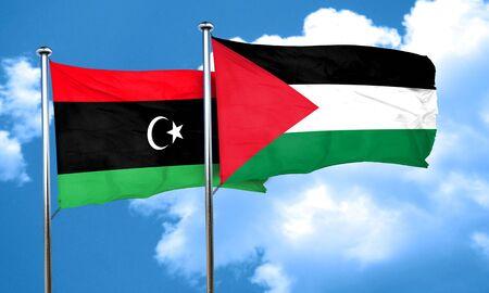 palestine: Libya flag with Palestine flag, 3D rendering Stock Photo