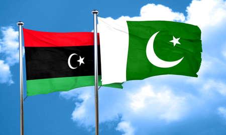pakistan flag: Libya flag with Pakistan flag, 3D rendering