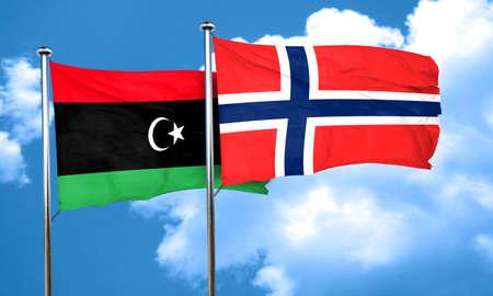 norway flag: Libya flag with Norway flag, 3D rendering