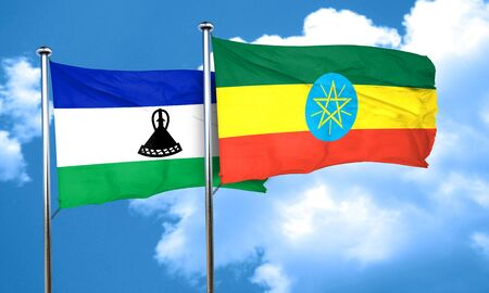 ethiopia  flag: Lesotho flag with Ethiopia flag, 3D rendering