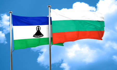 lesotho: Lesotho flag with Bulgaria flag, 3D rendering Stock Photo