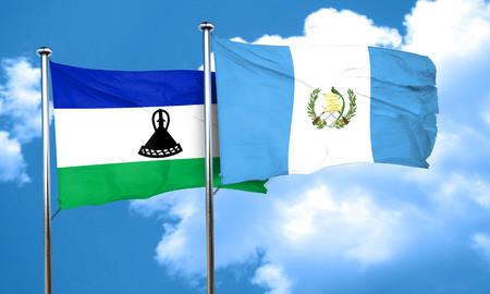 bandera de guatemala: bandera de Lesotho con la bandera de Guatemala, 3D Foto de archivo