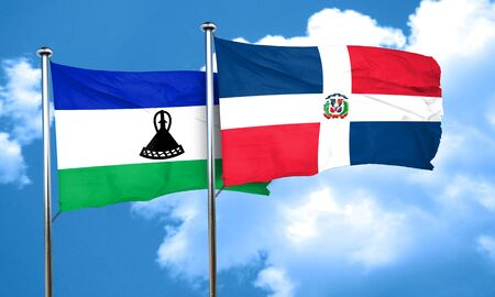 dominican: Lesotho flag with Dominican Republic flag, 3D rendering Stock Photo