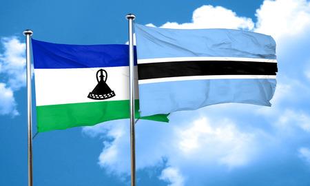amity: Lesotho flag with Botswana flag, 3D rendering Stock Photo