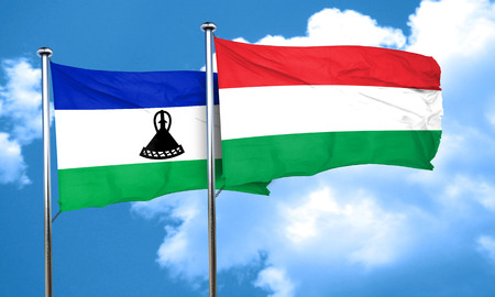 lesotho: Lesotho flag with Hungary flag, 3D rendering Stock Photo