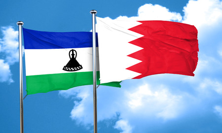 amity: Lesotho flag with Bahrain flag, 3D rendering Stock Photo