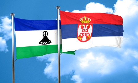 serbia flag: Lesotho flag with Serbia flag, 3D rendering