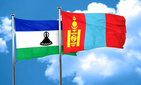 mongolia: Lesotho flag with Mongolia flag, 3D rendering