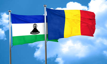 romania flag: Lesotho flag with Romania flag, 3D rendering