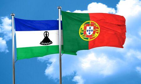 lesotho: Lesotho flag with Portugal flag, 3D rendering