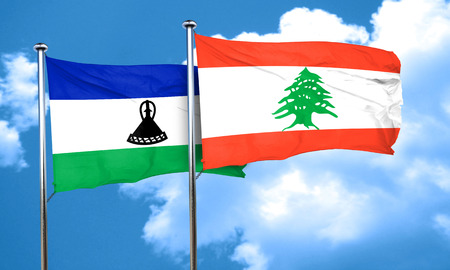 lesotho: Lesotho flag with Lebanon flag, 3D rendering Stock Photo