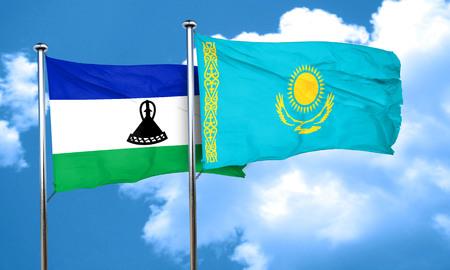 lesotho: Lesotho flag with Kazakhstan flag, 3D rendering