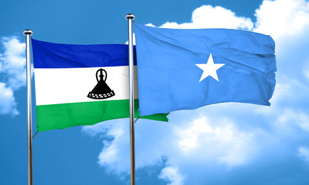 somalian culture: Lesotho flag with Somalia flag, 3D rendering