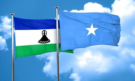 lesotho: Lesotho flag with Somalia flag, 3D rendering