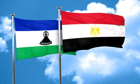 lesotho: Lesotho flag with egypt flag, 3D rendering